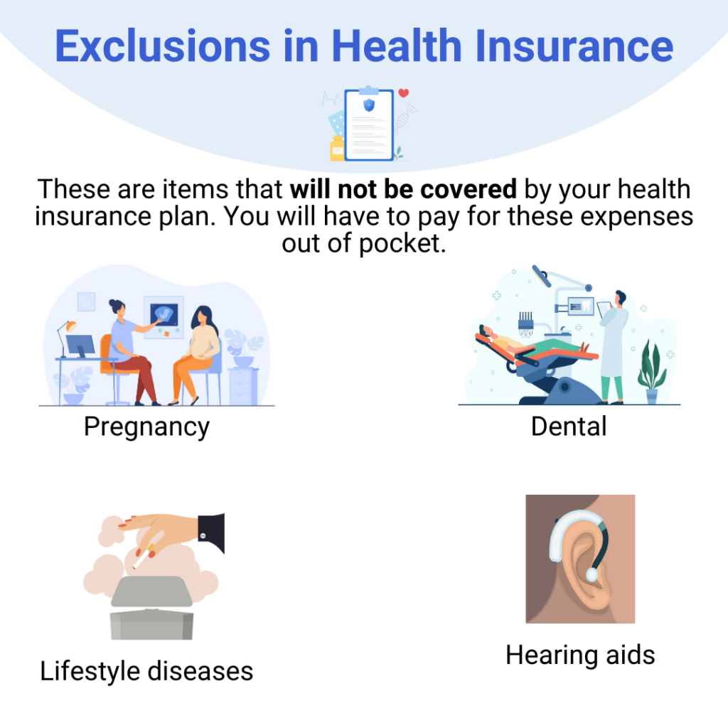 Examples of exclusions in health insurance